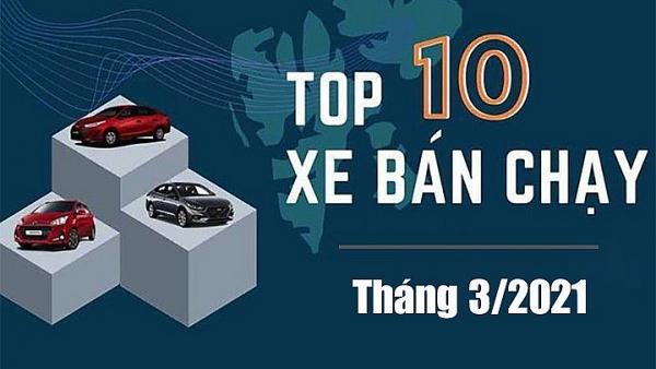 Top 10 xe ô tô bán chạy nhất tháng 3/2021