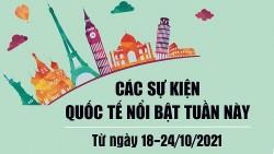 Dự kiến các sự kiện quốc tế nổi bật tuần từ ngày 18/10 đến 24/10/2021