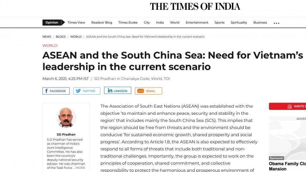 Học giả Ấn Độ ca ngợi vai trò và đóng góp của Việt Nam trong vấn đề Biển Đông và ASEAN