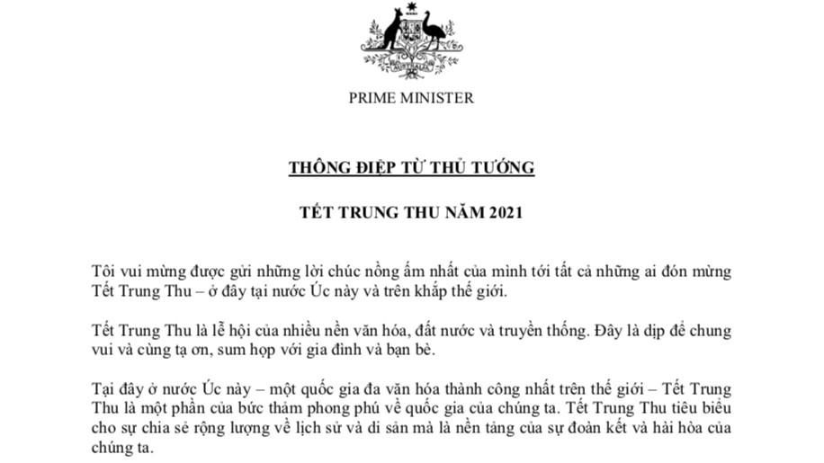 Thủ tướng Australia Scott Morrison gửi thư chúc mừng Tết Trung thu