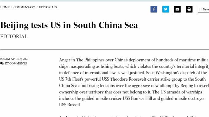 Báo Australia: Tổng thống Joe Biden có 'trách nhiệm' trong việc đối phó với hành động gây hấn của Trung Quốc ở Biển Đông