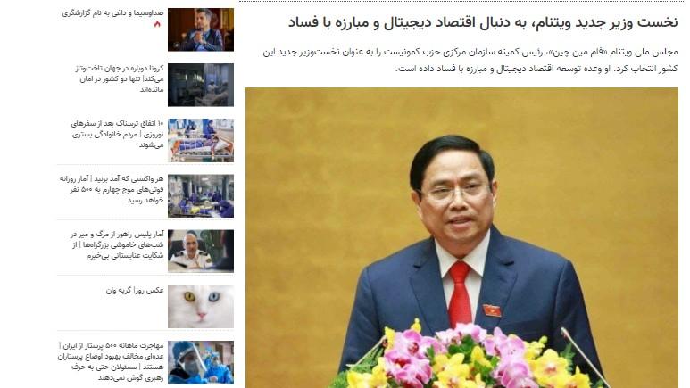 Báo Iran: Chính phủ mới của Việt Nam sẽ thúc đẩy nền kinh tế số và chống tham nhũng