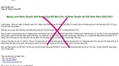 Báo cáo của 'Mạng lưới nhân quyền Việt Nam': Võ đoán và suy diễn