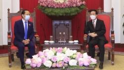 Thường trực Ban Bí thư Võ Văn Thưởng tiếp Đại sứ Campuchia tại Việt Nam