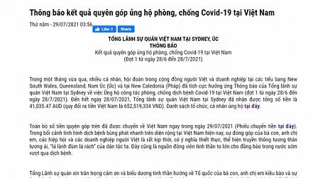 Người Việt ở Australia quyên góp ủng hộ phòng, chống dịch Covid-19 tại Việt Nam