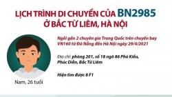 BN2985 ở Bắc Từ Liêm, Hà Nội đã đi đến những đâu trước khi phát hiện mắc Covid-19?