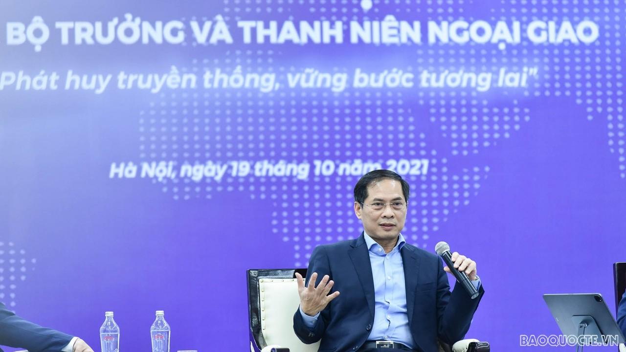 """Bộ trưởng Ngoại giao Bùi Thanh Sơn đối thoại với thanh niên: """"Phát huy truyền thống, vững bước tương lai"""""""