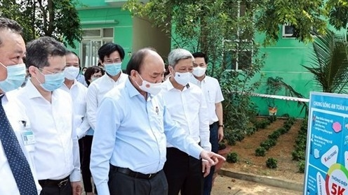 Chủ tịch nước Nguyễn Xuân Phúc kiểm tra công tác phòng, chống dịch Covid-19 tại Đà Nẵng