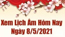 Lịch âm 8/5 - Xem âm lịch hôm nay thứ 7 ngày 8/5/2021 chính xác nhất - Lịch vạn niên  8/5/2021
