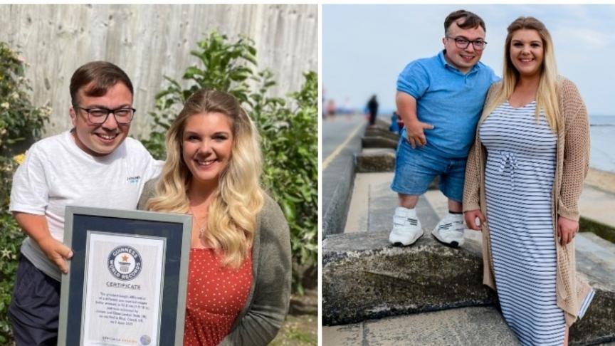 Cặp đôi vợ cao hơn chồng 60cm lập kỷ lục Guinness thế giới