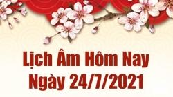 Lịch âm 24/7 - Xem âm lịch hôm nay thứ 7 ngày 24/7/2021 chính xác nhất - Lịch vạn niên  24/7/2021