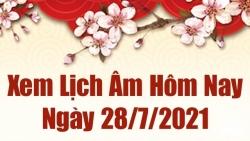 Lịch âm 28/7 - Xem âm lịch hôm nay thứ 4 ngày 28/7/2021 chính xác nhất - Lịch vạn niên 28/7/2021