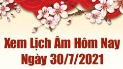 Lịch âm 30/7 - Xem âm lịch hôm nay thứ 6 ngày 30/7/2021 chính xác nhất - Lịch vạn niên 30/7/2021
