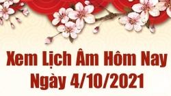 Lịch âm 4/10, Xem âm lịch hôm nay thứ 2 ngày 4/10/2021 chính xác nhất. Lịch vạn niên