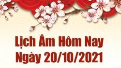 Lịch âm 20/10, Xem âm lịch hôm nay thứ Tư ngày 20/10/2021 chính xác nhất. Lịch vạn niên