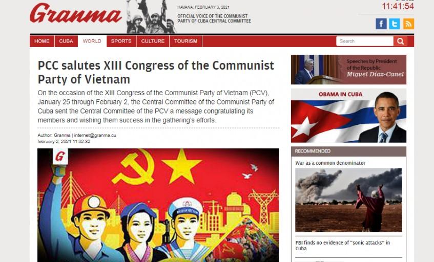 Truyền thông quốc tế nêu bật thành công Đại hội XIII của Đảng, gửi lời chúc mừng Tổng Bí thư Nguyễn Phú Trọng