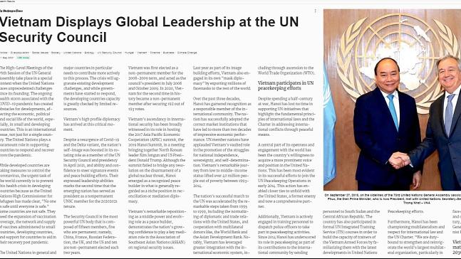 Báo Mỹ ca ngợi vai trò lãnh đạo nổi bật của Việt Nam trong các vấn đề toàn cầu