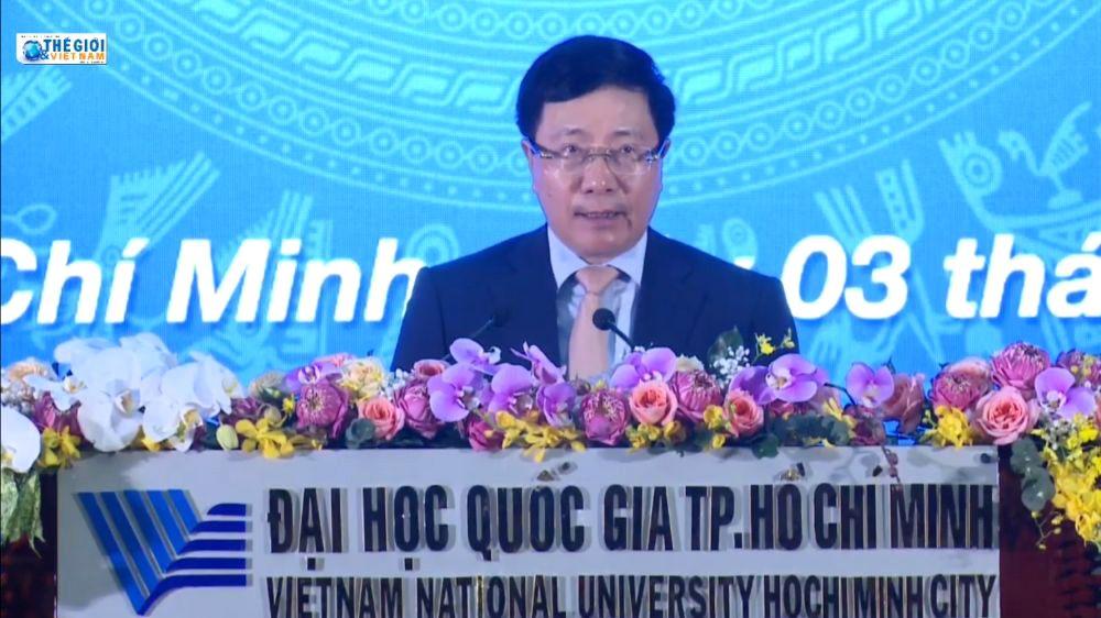 Phó Thủ tướng Phạm Bình Minh phát biểu tại Lễ khai khoá 2020 của Đại học Quốc gia Thành phố Hồ Chí Minh